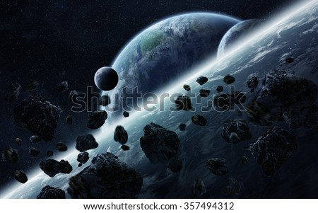 View of planets from space during meteorite impact 'elements of this image furnished by NASA'