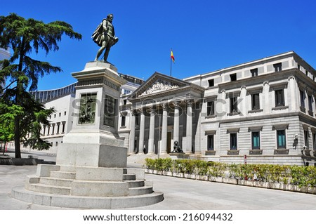 view of Plaza de las Cortes and Spanish Congress of Deputies in Madrid, Spain - stock photo
