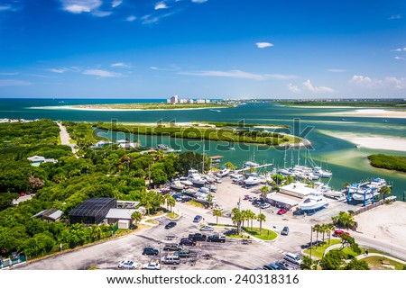 View of Ponce Inlet and New Smyrna Beach from Ponce de Leon Inlet Lighthouse, Florida. - stock photo