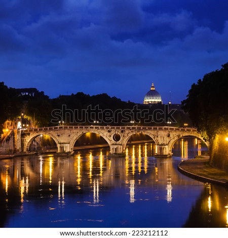 view of Ponte Sisto and St. Peter's basilica, Rome, Italy - stock photo