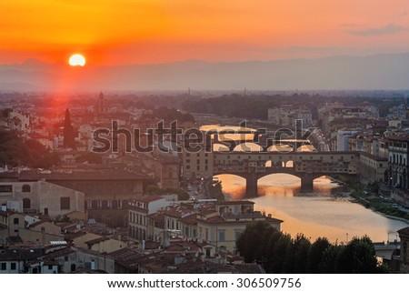 View of Ponte vecchio - Florence, italy - stock photo