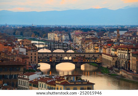 View of Ponte Vecchio in Florence, tuscany. Italy - stock photo