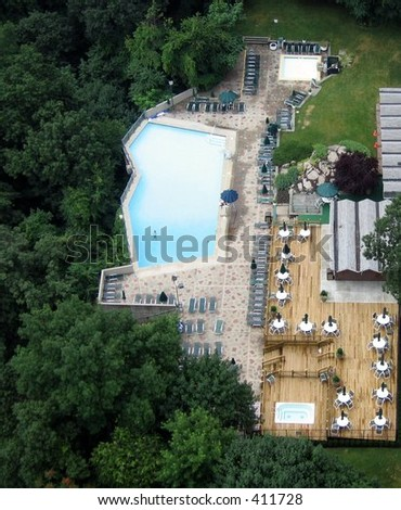 View of Pool from above - stock photo