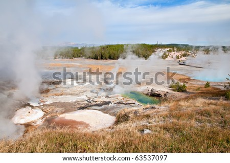 View of Porcelain Basin in Yellowstone National Park, Wyoming. - stock photo