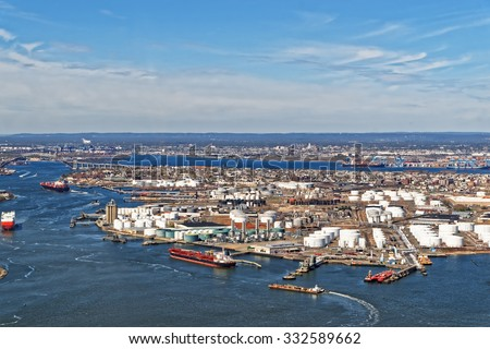 View Of Port Newark And The Shipping Containers In Bayonne, New Jersey. The  Area
