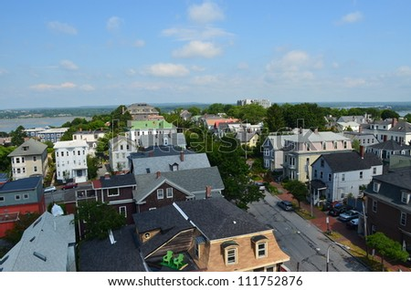 View of Portland Maine from the observatory on Munjoy Hill looking at the rooftops - stock photo