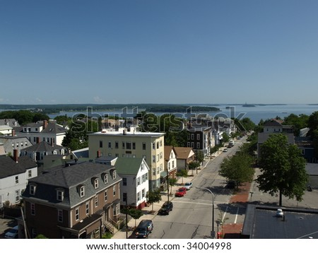 View of Portland Maine seen from the top of the Portland Observatory - stock photo