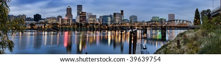 View of Portland, Oregon overlooking the willamette river. - stock photo