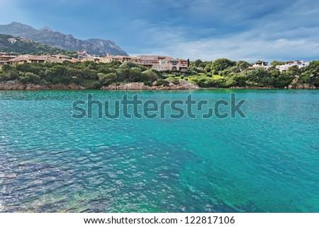 view of Porto Cervo emerald sea - stock photo