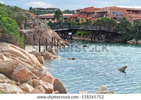 view of Porto Cervo harbor on a cloudy day - stock photo