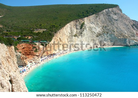 View of porto Katsiki beach, Lefkada Greece