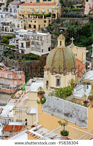 View of Positano church, on the Amalfi coast (Costiera Amalfitana),  southern Italy
