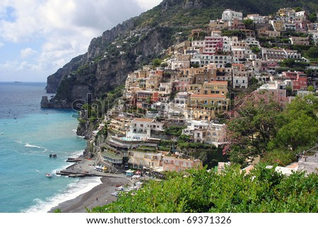 View of Positano, colorful town at the Italian Amalfi coast. - stock photo