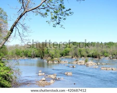 View of Potomac River near Washington DC, 20 April 2016 USA                                  - stock photo