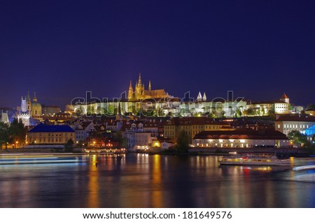 View of Prague Castle at night - stock photo