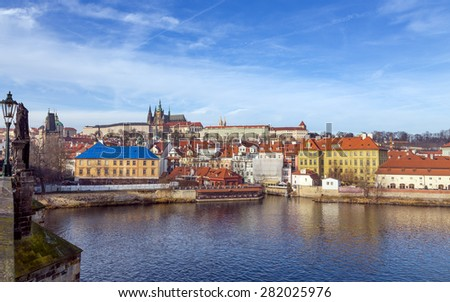 View of Prague castle from Charles bridge, Czech Republic  - stock photo