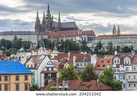 View of Prague castle, the Cathedral of St. Vitus. Prague, Czech Republic. - stock photo