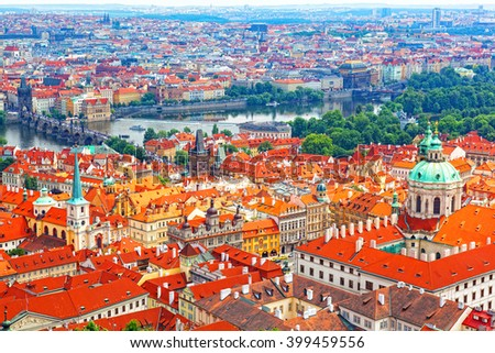 View  of Prague from an observation deck - stock photo