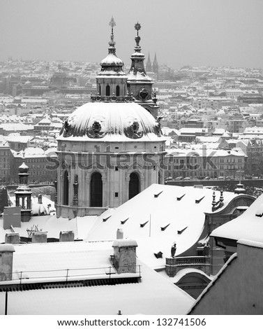 view of Prague in winter