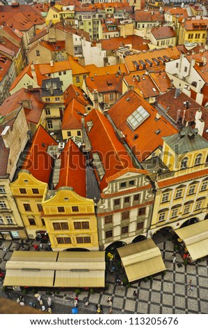 View of Prague's beautiful Old Town from the Astronomical Clock Tower. Prague, Czech Republic - stock photo