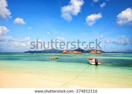 View of Praslin Island from La Digue, Seychelles - stock photo