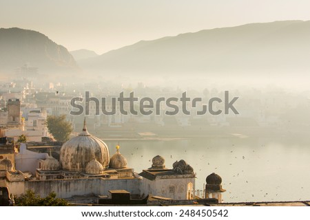 View of Pushkar City in India on a fog morning - stock photo