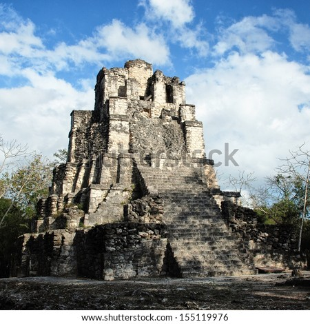 View of Pyramid at Muyil Ruins - mayan site and an example of Peten architecture, Yucatan Peninsula, Mexico - stock photo