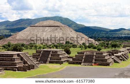 View of Pyramids in Teotihuacan in Mexico