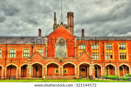 View of Queen's University in Belfast - Northern Ireland - stock photo