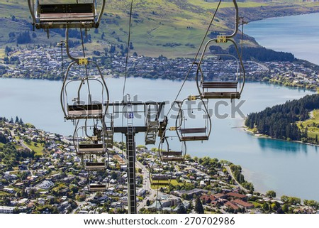 View of Queenstown and Lake Wakatipu - stock photo