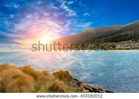 View of Queenstown New Zealand niceshot - stock photo