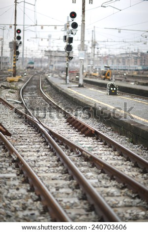 View of railroad, crossroad next to the rail station  - stock photo