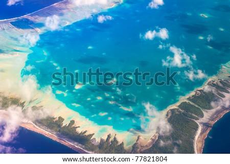 View of Rangiroa Atoll, Tuamotu,French Polynesia - stock photo