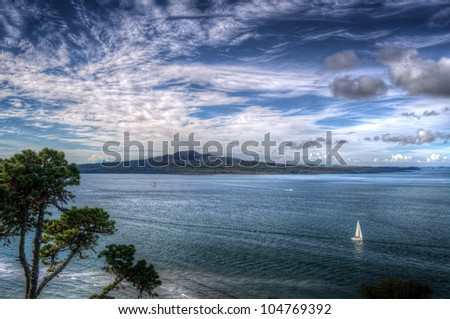 View of Rangitoto Island - stock photo