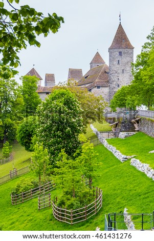 View of Rapperswil Castle and courtyard. Rapperswil, Switzerland