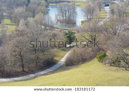 View of Recreational Park as Symbol of Urban Planning - stock photo