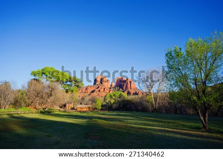 View of red rocks at the foot hills of the famous Castle Rock in Sedona, Arizona, AZ, an American landmark - stock photo