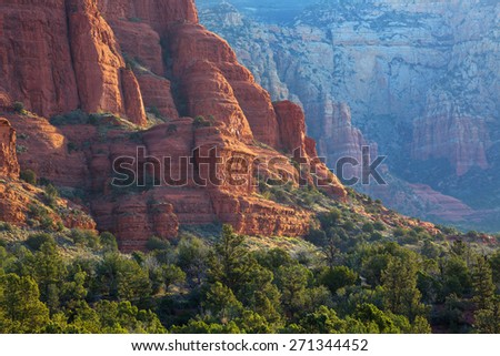 View of red rocks of Courthouse Butte in Sedona, Arizona, AZ, an American landmark - stock photo