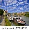 View of Regensburg embankment, Bavaria, Germany, UNESCO World Heritage Site - stock photo