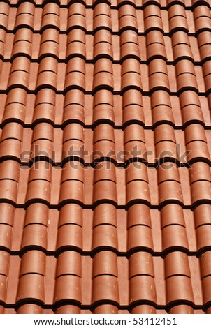 view of repeat red roof tiles, architecture background. - stock photo