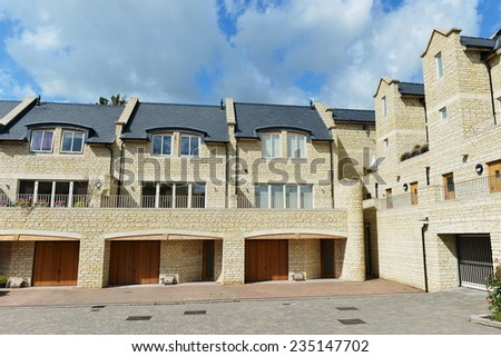 View of Residential Buildings on a Housing Estate in an English Town - stock photo