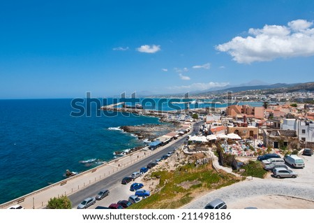 View of Rethymno city from Fortezza on Crete, Greece. - stock photo