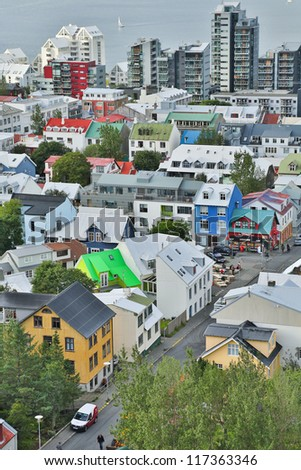 View of Reykjavik, capital of Iceland, from the top of the Hallgrimskirkja church - stock photo