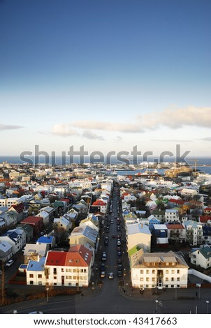 View of Reykjavik from the top of Hallgrimskirkja church tower - stock photo