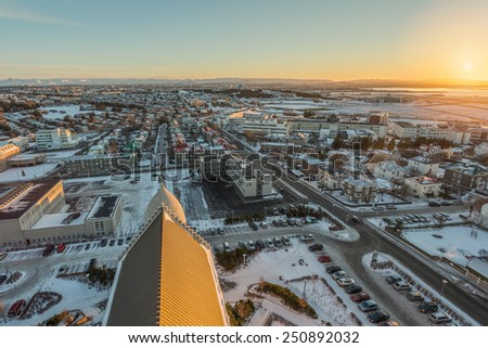 View of Reykjavik Sunset from the top of the Hallgrimskirkja Church  - stock photo