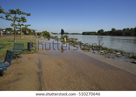 View of Rhine High Water in Speyer in June 2013 on a sunny day