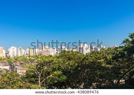 View of Ribeirao Preto city from zoo Fabio Barreto. Sao Paulo state. The woods and the city zoo both is in the same place.