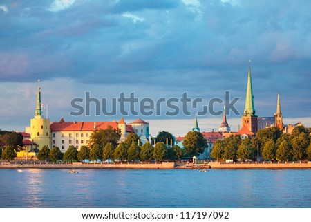 View of Riga Castle, Cathedral, St. Peter's Church - stock photo