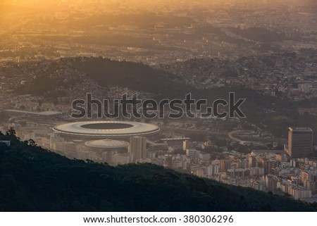 View of Rio de Janeiro  at twilight in Brazil - stock photo