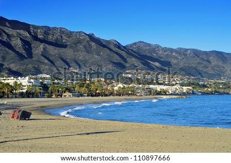 view of Rio Verde Beach in Marbella, Spain - stock photo